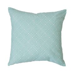 mint greek key pillow