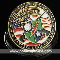 Proud of Rob.....United States Army 75th Ranger Regiment 24KT Gold Plated Coin Badge 636