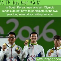 Wining Koreans in the Olympics don't have join the army - WTF fun facts