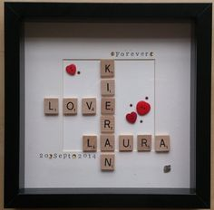Word Art: Wooden scrabble tile box frame personalised gift - wedding gift, anniversary gift, christening gift, new baby gift on Etsy