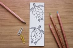 Turtle Bookmark Print, Colour-in Bookmark, Kids Colouring Bookmark, Wildlife Bookmark, Kids Bookmark Bookmark Printing, Bookmarks Kids, Coloring For Kids, My Drawings, Turtle, My Arts, Prints, Cards, Etsy