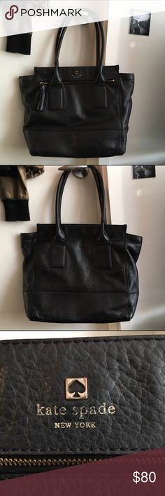 "Kate Spade black pebbled leather shoulder bag Pre-loved authentic Kate Spade tote/satchel with magnetic closure. I got this on Posh & carried it for a few months but I prefer a full zipper. I think it's the Southport Avenue Oden. No scratches. Minor wear to corners & straps (plz see additional pics in closet). Some marks on the lining as shown. Haven't tried to clean. Small 1"" tear where the zipper caught the lining on the small front pocket. Doesn't interfere with usability. 12"" wide 13.5""…"