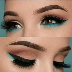 The Smokey Eye Make-up is perfect for the shape of your eyes . - Make-up - # . , The Smokey Eye Make-up is perfect for the shape of your eyes . - Make-up - Makeup Eye Looks, Cute Makeup, Smokey Eye Makeup, Skin Makeup, Eyeshadow Makeup, Gorgeous Makeup, Teal Makeup, Makeup Brushes, Perfect Makeup