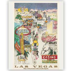 Las Vegas poster - signed by artist Daniel Randolph, 20x28 in. giclee print