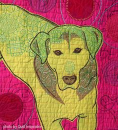 """detail, """"Green Dog with Orange Ball"""" by Cindy Cooksey (California, USA). Photo by Quilt Inspiration. Marley And Me, International Quilt Festival, Dog Quilts, California Usa, Houston, Quilting, Kids Rugs, Detail, Orange"""