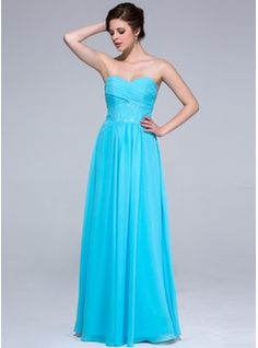 A-Line/Princess Sweetheart Floor-Length Chiffon Lace Bridesmaid Dress With Ruffle (007037168) - JJsHouse