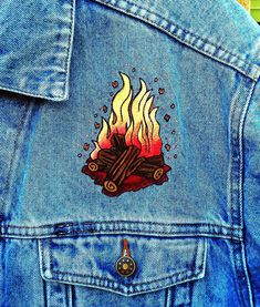Campfire hand painted on the front of a denim jacket by Painted Denim Jacket, Painted Jeans, Painted Clothes, Denim Jacket Men, Hand Painted, Custom Clothes, Diy Clothes, Denim Art, Date Outfit Casual