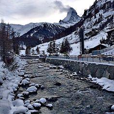 A wintry scene near the Matterhorn, Switzerland. Photo courtesy of crazytravelista on Instagram.