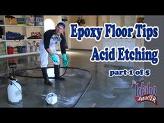 How to epoxy a concrete garage floor. 5 step process including using muratic acid to etch the concrete before applying epoxy. Tips applying epoxy to concrete...