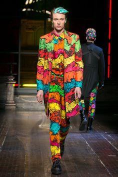 Jeremy Scott's take on men's fall 2016 fashion for Moschino.