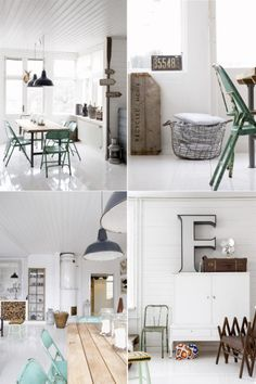 """Modern and vintage: love the greens, turquoise, metals, woods and whites...and i wish i could find a big """"s"""" somewhere!"""