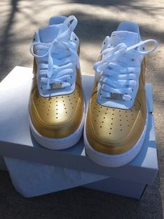 FootSoldierCustoms — Nike Air Force 1 Low (White/Gold) Gold Sneakers, Custom Sneakers, Custom Shoes, Shoes Sneakers, Jordan Sneakers, Sneakers 2016, Nike Custom, Summer Sneakers, Roshe Shoes