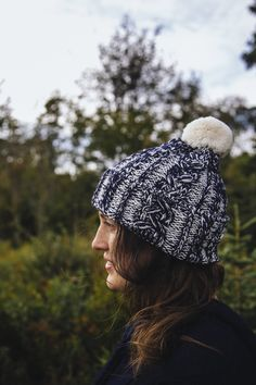 Marled navy and white pom pom hat from Rose and Rose, UK. Pom Pom Hat, Beautiful Necklaces, Navy And White, Vintage Items, Winter Hats, Sugar, Tools, Antiques, Rose