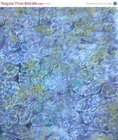 SPECIAL SALE - Batik Fabric,Batavian Batik, South Seas Imports, Blue/Green,Flowers/Leaves,By the Yard,45 Inches Wide,Batik Home Decor Fabric