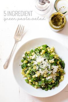 Five Ingredient Simple Green Pasta Salad - Basil, olive oil, garlic, and lemon juice flavor this fresh, yummy, simple summer dish