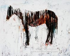Autumn Home Decor - Horse Drip - 11 x 14 - Print of an Original Painting ranch country western winter snow rustic. via Etsy.