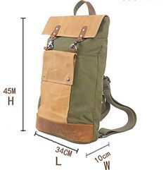 """Vintage Canvas And Leather Backpack, Unisex Shoulder Bag 2003K Model Number: 2003K Dimensions: 13.3""""L x 3.93""""W x 17.7""""H / 34cm(L) x 10cm(W) x 45cm(H) Weight: 1.98 lb / 0.9 kg Shoulder Strap: Adjustable Color: Blue / Grey / Coffee / Green Material: Canvas and Genuine Leather (Crazy Horse Leather) Features: * Colors may vary from screen to screen * Can Fit 15"""" Laptop, A4, iPad If you have any questions or need our help then contact us. We'd love to hear from you. Our e-mail: info@echopurse.com…"""