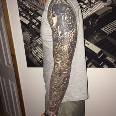 Traditional Black and Grey Sleeve Tattoo by Richie Clarke<br> Traditional Sleeve, Neo Traditional Tattoo, American Traditional, Black Sleeve Tattoo, Sleeve Tattoos, Black Tattoos, Body Art Tattoos, Japanese Hand Tattoos, Black And Grey Sleeve
