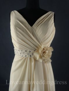 Informal Couture VNeck Beaded Flower by Loveannaweddingdress, $169.00
