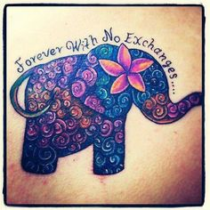 Love this elephant tattoo, the colors, the words - perfect!