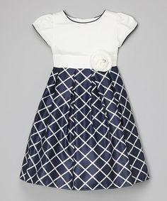 Loving this Navy & White Windowpane Dress - Toddler & Girls on #zulily! #zulilyfinds