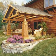 How to Build an living room-Turn your patio or deck into a comfortable, protected outdoor room. This DIY-friendly design features exposed, natural wood beams and massive-looking (but easy to build) wood piers. By the DIY experts of The Family Handyman Magazine