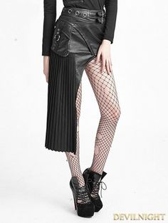 If not as skirt, use it over black leather leggins as a belt - Black Gothic Punk Single Pleated Leather Skirt