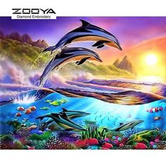 DIY Diamond Painting Two Dolphins Full Square Diamond Embroidery Kits Pictures of Crystals Home D Cross Paintings, Animal Paintings, Hand Home, Pictures Of Crystals, Dolphin Art, Crystals In The Home, Wale, Diamond Art, Crystal Diamond
