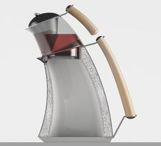 The Reverence tea brewer can be interpreted in two opposing ways. To some, it may look lopsided, leaning forward and ready to fall, creating a visual