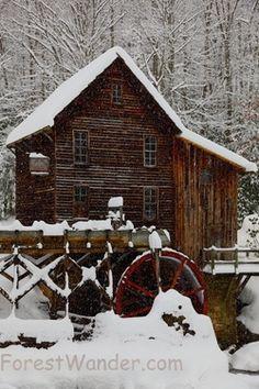 West Virginia Gristmill Waterfall Winter Snow  www.ForestWander.com