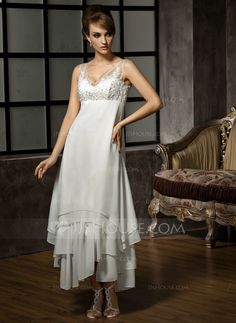 A-Line/Princess V-neck Ankle-Length Chiffon Tulle Wedding Dress With Lace Beading Sequins (002012655) - JJsHouse