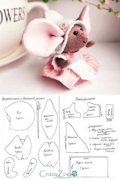 Trendy sewing patterns free animals stuffed toy 44 ideas - Old Media Sewing Stuffed Animals, Stuffed Animal Patterns, Sewing Crafts, Sewing Projects, Sewing Ideas, Pet Mice, Fabric Toys, Sewing Dolls, Soft Dolls