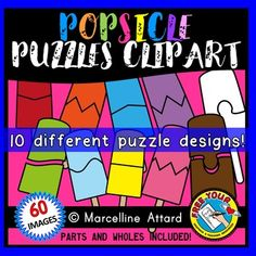 #SUMMER #CLIPART: #RAINBOW #POPSICLES #PUZZLES CLIPART: self-correcting puzzles! :)