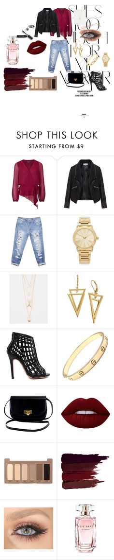 """""""wine"""" by stuckinlove1 on Polyvore featuring moda, Rika, Adrianna Papell, Zizzi, Wet Seal, Michael Kors, Full Tilt, Cartier, Lime Crime y Urban Decay"""