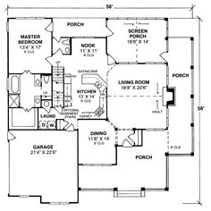 - 4 Bedroom Bath Country Farmhouse with all walk-in closets and screened porch : House Plans, Floor Plans, Home Plans, Plan It a. Country House Design, Country Style House Plans, Country Style Homes, Southern Style, Farm Plans, Farmhouse Plans, Country Farmhouse, House Plans And More, Best House Plans
