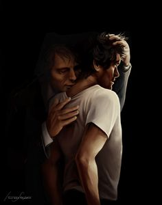 "thetuxedos: "" Another painting for the-heart-and-the-brain to illustrate their fic Kvapas. Who doesn't love a creepy, shadowy Hannibal biting an illuminated Will? """