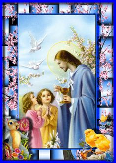 Jesus Christ and the children Jesus Our Savior, Jesus Is Lord, Religious Pictures, Jesus Pictures, Catholic Art, Religious Art, Vintage Holy Cards, Christian Images, Les Religions