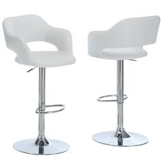 Experience fine dining with this gorgeous bar stool in a chrome finish. This bar stool spotlights a white polyurethane upholstery and a round footrest that will provide your home with an elegant feel.