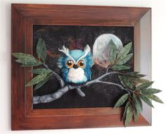 Moonlit plush softie 3D owl with galaxy and sparkling midnight sky wall art by NomesB Cre8tions