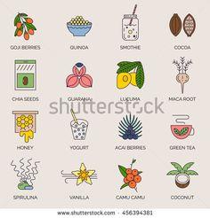 Superfoods line vector icons. Acai, cocoa, goji, guarana, spirulina, coconut, quinoa, camu camu, maca, honey, vanilla, kelp. Organic superfoods for health and diet. Detox and weightloss supplements.