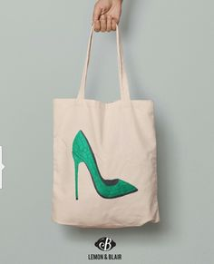 Eco friendly tote bag with teal color high heel print on it. Teal Colors, Eco Friendly, High Heels, Reusable Tote Bags, High Heeled Footwear, High Heel, Stiletto Heels, Shoes High Heels, High Hells
