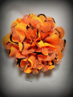 Hey, I found this really awesome Etsy listing at https://www.etsy.com/listing/198137992/orange-and-black-chiffon-and-lace-flower