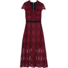 Catherine Deane Garland guipure lace midi dress (18,620 PHP) ❤ liked on Polyvore featuring dresses, burgundy, burgundy midi dress, red zipper dress, calf length dresses, scalloped lace dress and lacy red dress