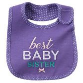 With water barrier lining, this soft bib will keep baby sister clean and dry!