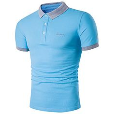 Men's Daily Weekend Active Plus Size Cotton Slim Polo - Solid Colored Shirt Collar Navy Blue / Short Sleeve / Summer Tank Top Herren, Herren T Shirt, Sweat Shirt, Tee Shirt Homme, Sport T-shirts, Floral Print Shirt, Embroidered Shorts, Plus Size T Shirts, Collar Shirts