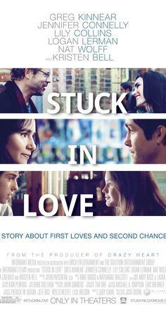 Stuck in Love (2012) - A quiet movie about a family of writers who are all responding in their own way to the parents' divorce. Love, expectations, trust, & potential are all addressed in a non-flashy way by a great cast. So glad I randomly watched this on OnDemand last night. Wish it was a TV series so I could get to know them all more, see what happens next. ~ Kim Bongiorno @LetMeStartBySaying