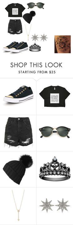 """""""I get bored"""" by music-geek101 ❤ liked on Polyvore featuring Converse, Topshop, Ray-Ban, Black, EF Collection and Bee Goddess"""