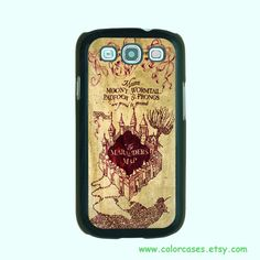 Samsung Galaxy S3 case --Harry Potter Marauder's map, Samsung galaxy S3 case in plastic or silicone ,color in black or white or clear. $14.99, via Etsy.