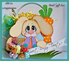 ELITE4U SCRAPBOOK EASTER PREMADE HANDMADE GIFT TREAT BOX GIRL BOY PAPER PIECING