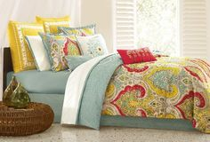 Echo Jaipur Queen Comforter Set by Echo. $199.99. Measurements: 92-by-96-inch comforter; 60-by-80-inch bedskirt; 20-by-26-inch shams. Coordinates with Jaipur bedding collection; Made in Pakistan. Sewn from 100-percent cotton; machine wash. Printing for top of bed; multi color to create a bright and cute bedding. Queen set includes comforter, bedskirt, and two standard-size shams. Echo Jaipur takes Multi bright colors and brings it to a fresh and inviting ensemble for the bed. T...